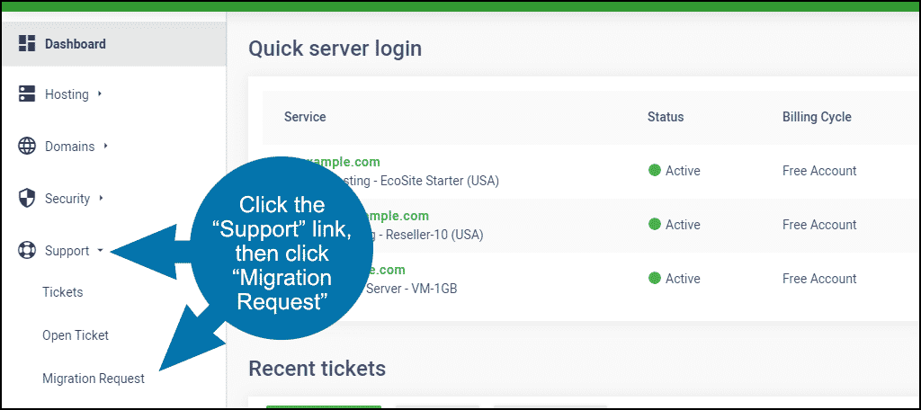 GreenGeeks dashboard site migration step 1