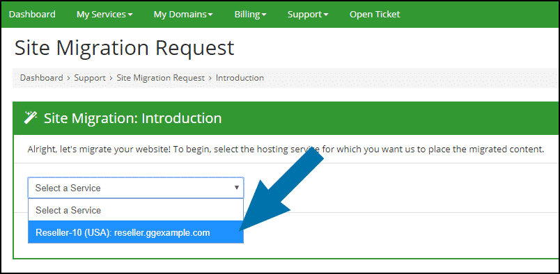 GreenGeeks dashboard reseller site migration step 2