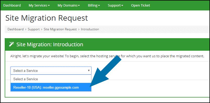 GreenGeeks dashboard reseller site migration step 2