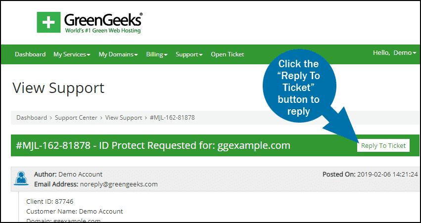 GreenGeeks dashboard support tickets step 3