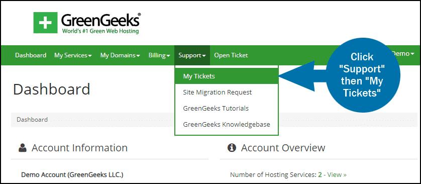 GreenGeeks dashboard support tickets