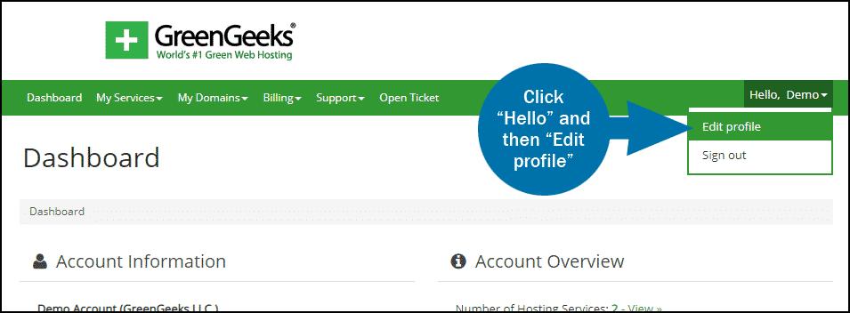 GreenGeeks dashboard update credit card step 1