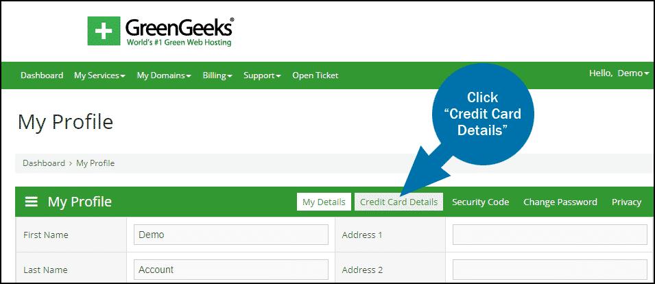 GreenGeeks dashboard update credit card step 2