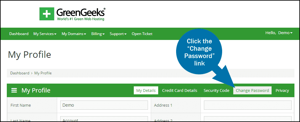 GreenGeeks dashboard update password step 1