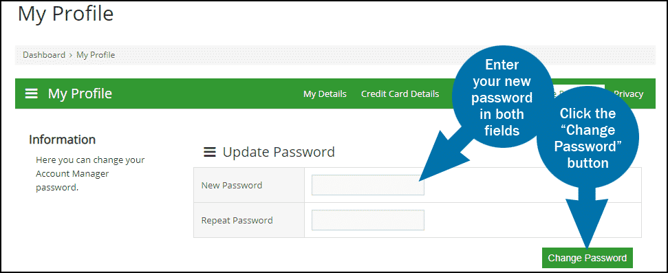 GreenGeeks dashboard update password step 2
