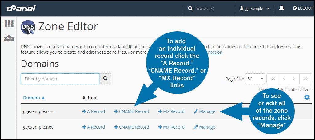 cPanel DNS zone editor step 1