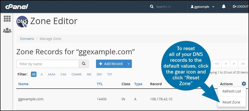 cPanel DNS zone editor reset zone