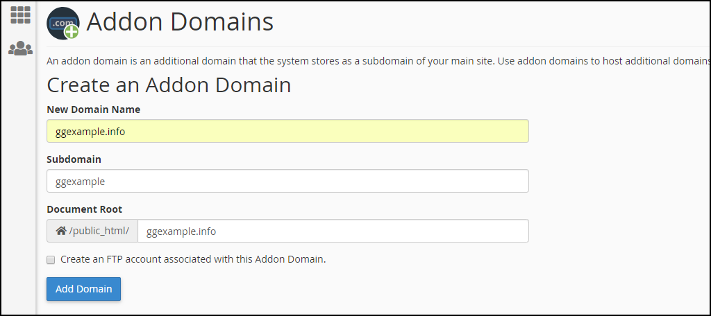 cPanel addon domain setup step 1