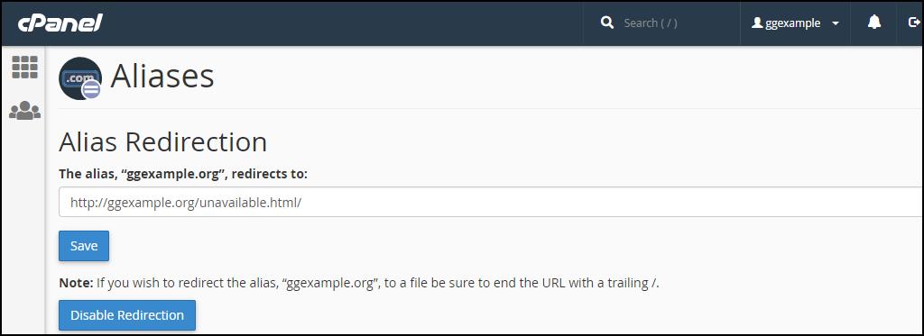 cPanel alias domain redirection step 2