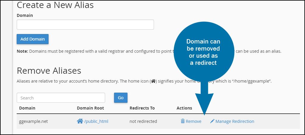 cPanel alias domain set up step 3