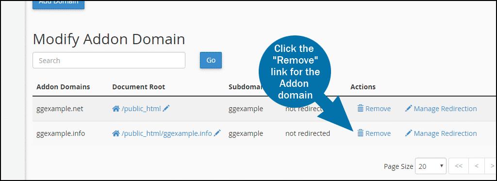 cPanel delete addon domain step 1