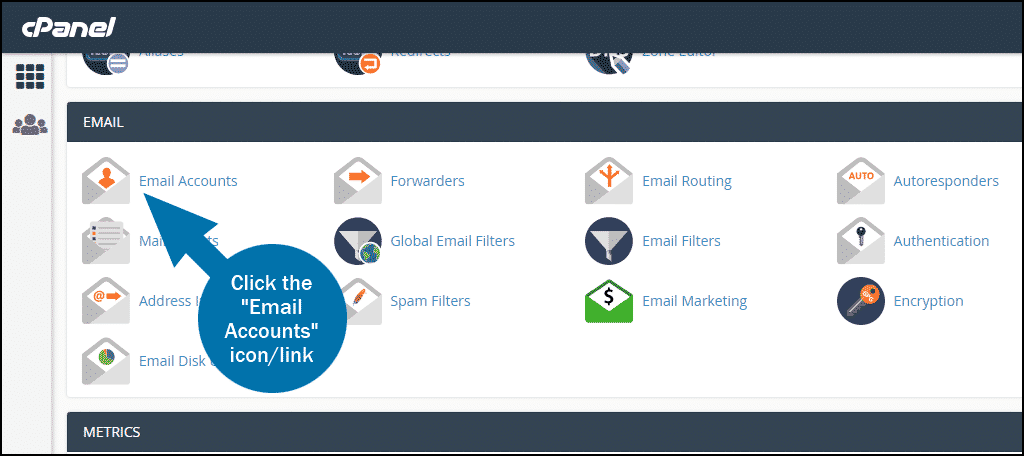 cPanel email account setup step 1