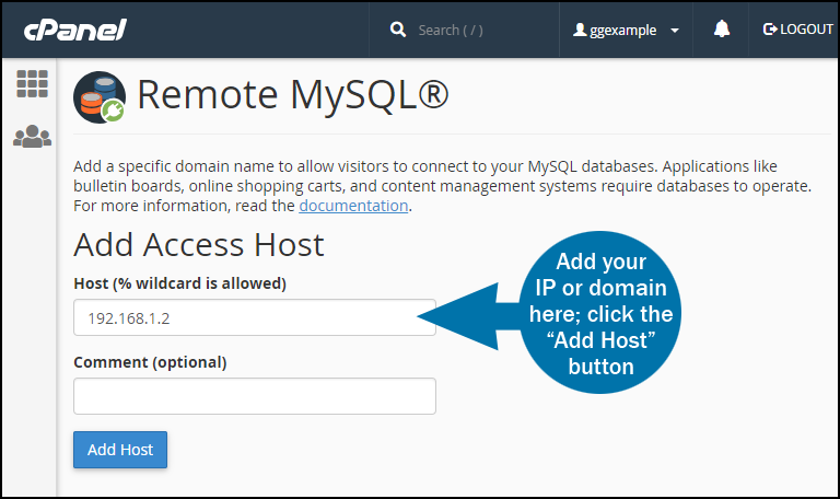 Panel mysql remote access step 1