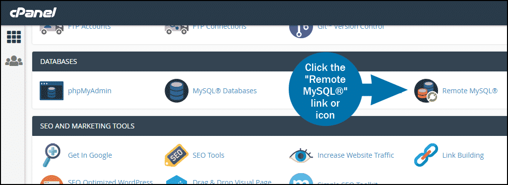 cPanel select section DATABASES remote mysql