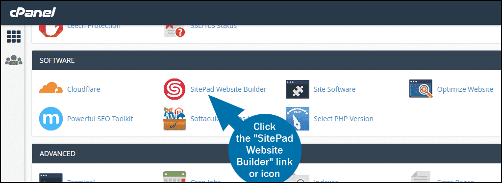 cPanel select section SOFTWARE SitePad