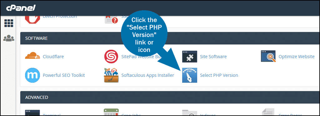 cPanel SOFTWARE select PHP version