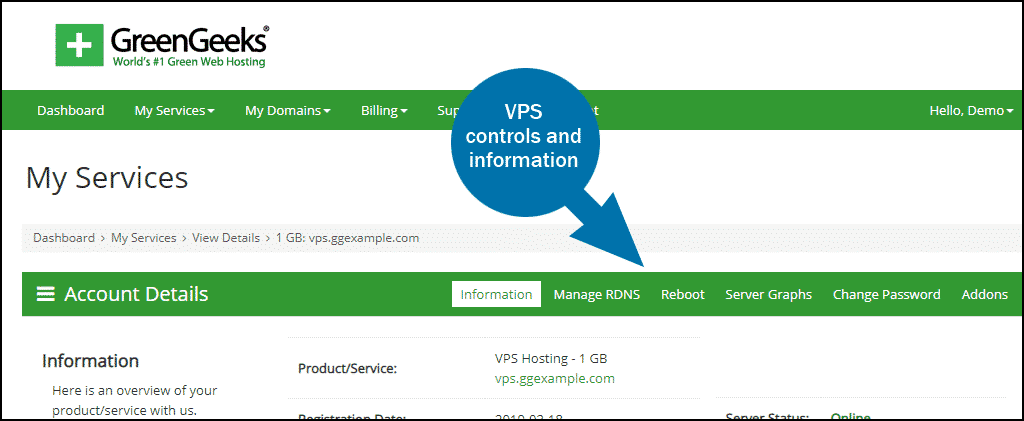 GreenGeeks dashboard VPS controls