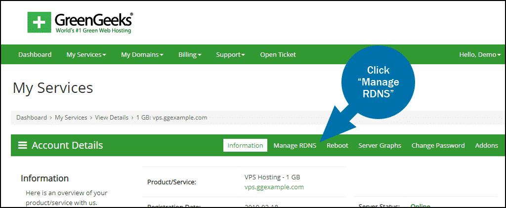 GreenGeeks dashboard VPS manage RDNS step 1