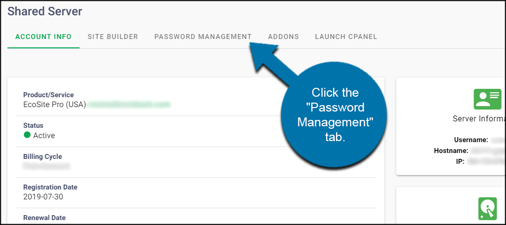 Password Management Tab