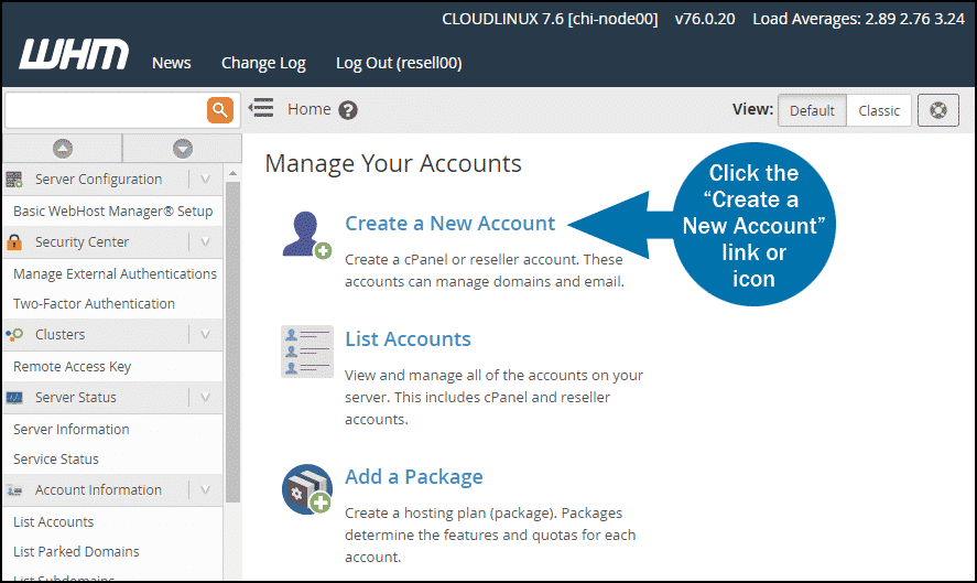WHM create account step 1