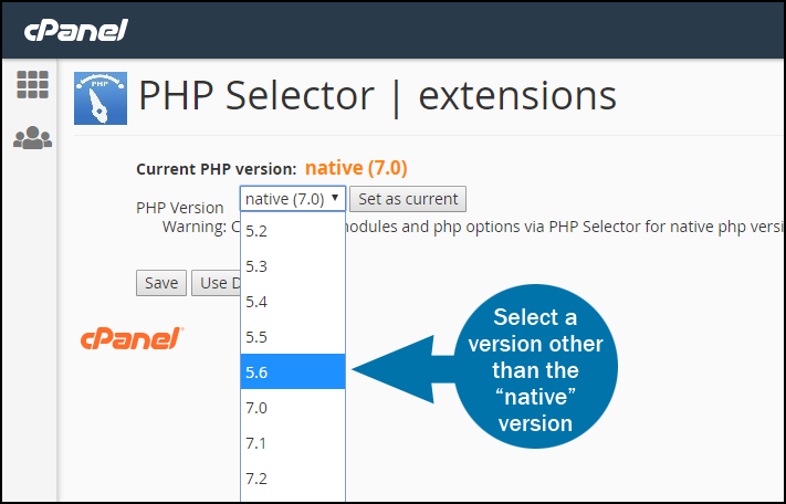 cPanel select PHP version