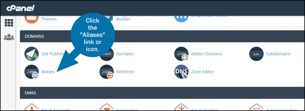cPanel select section DOMAINS > Aliases section
