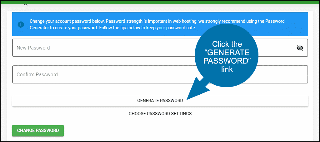 "click the ""GENERATE PASSWORD"" link"