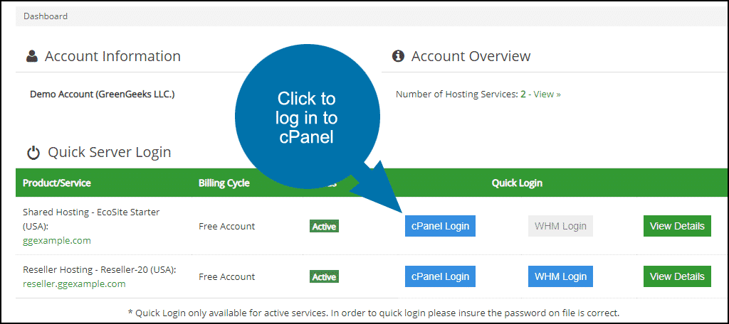 click to log in to cPanel