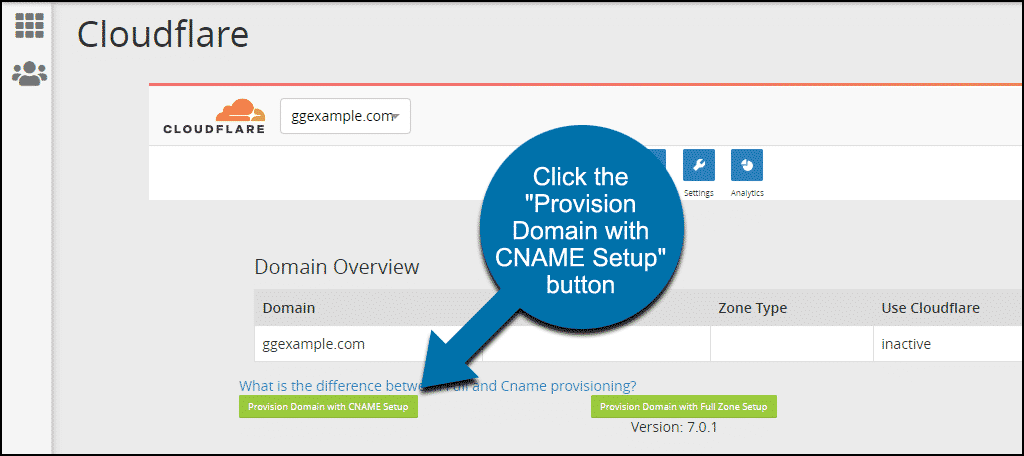 "click the ""Provision Domain with CNAME Setup"" button"