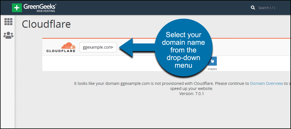 select your domain name from the drop-down menu