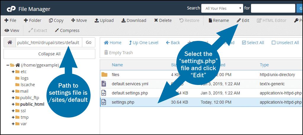 cPanel Drupal temporary URL step 1