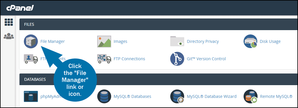 cPanel select section FILES > File Manager