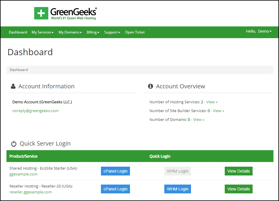 GreenGeeks dashboard log in step 3