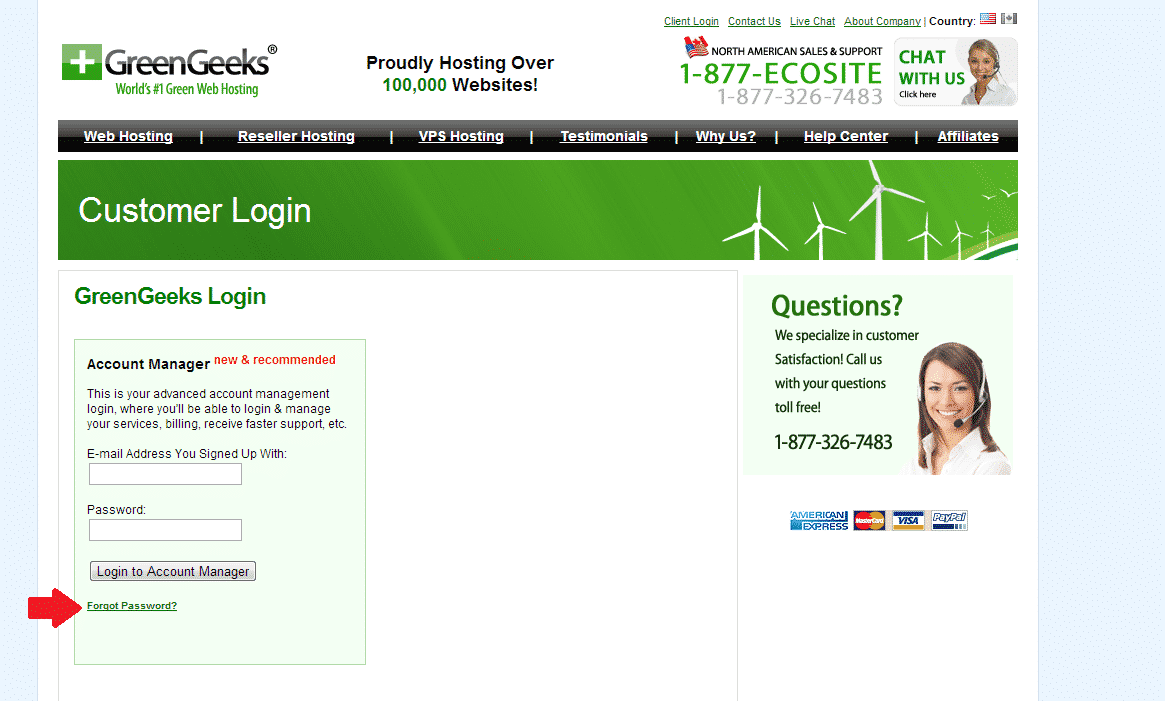 Account Manager Forgot Password