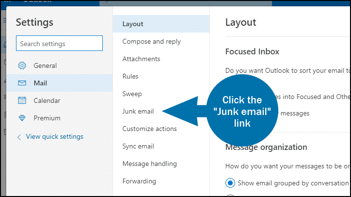 Outlook email whitelist step 3