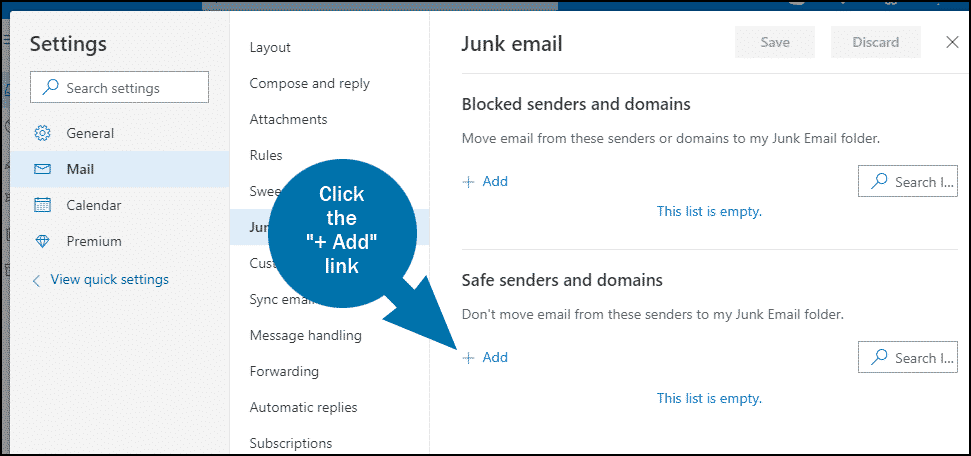 Outlook email whitelist step 4