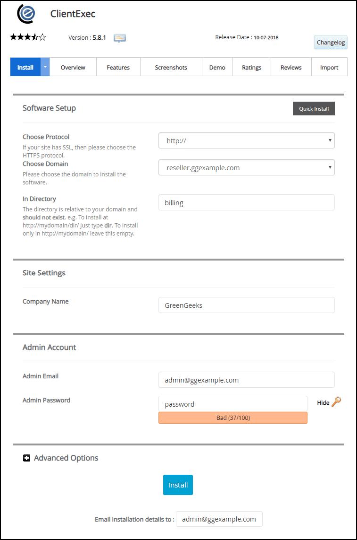 cPanel Clientexec installation step 4