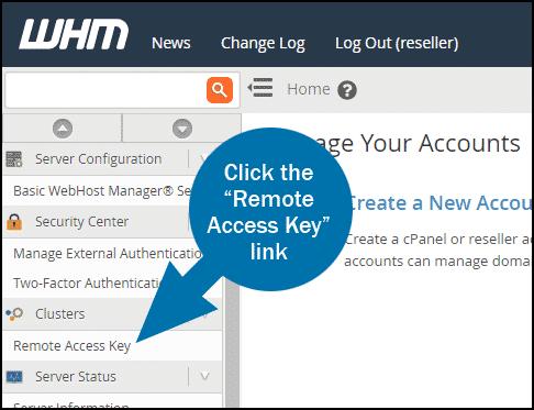 WHM remote access key step 1