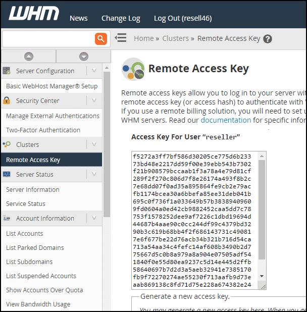 WHM remote access key step 2