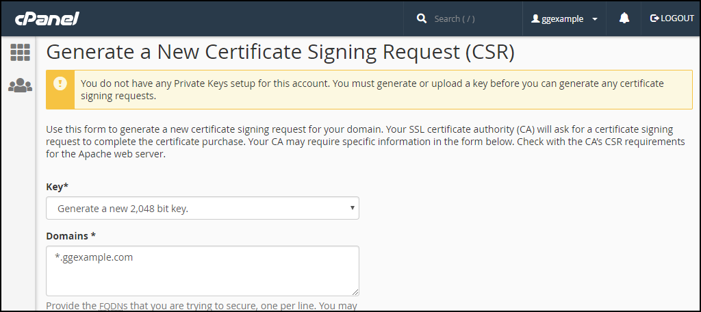 cPanel SSL CSR generation step 3