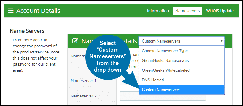 GreenGeeks dashboard domains name servers 5