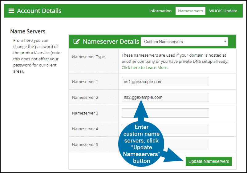 GreenGeeks dashboard domains name servers 6