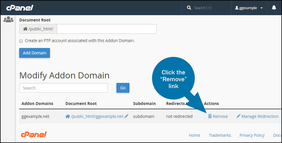 cPanel split add on domain to its own account - step 5