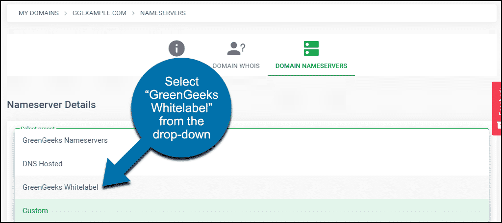 "select ""GreenGeeks Whitelabel"" from the drop-down"