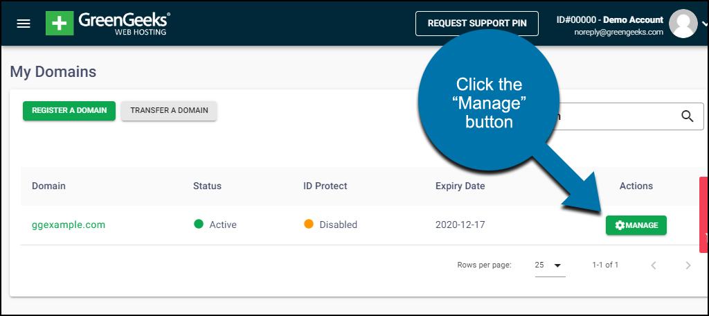 GreenGeeks dashboard domains manage