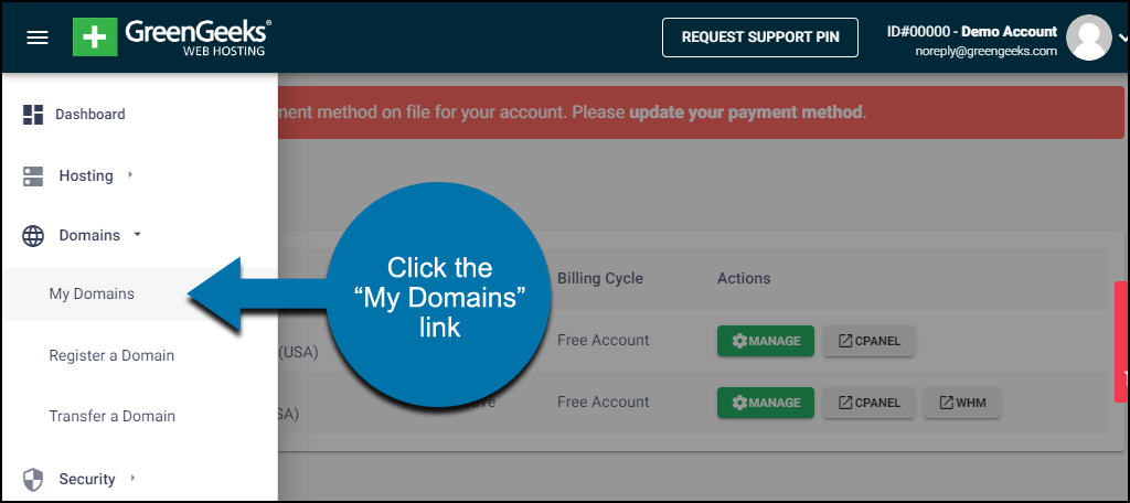 """click the """"My Domains"""" link"""