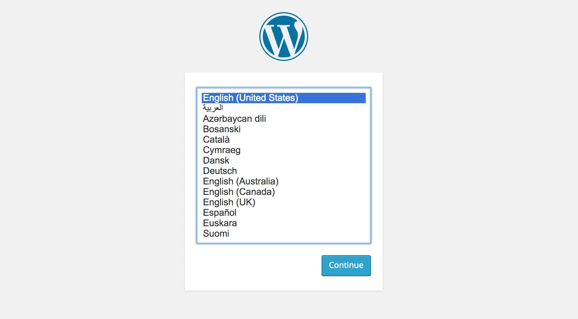 WordPress 4 Language Screen