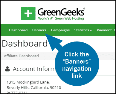 GreenGeeks affiliate dashboard banners step 1