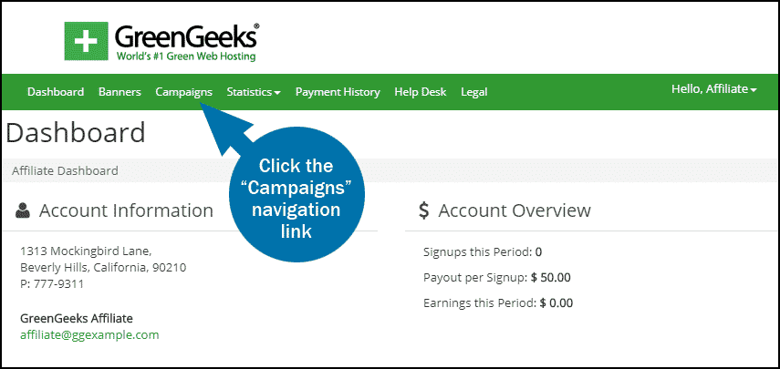 GreenGeeks affiliate dashboard campaigns step 1