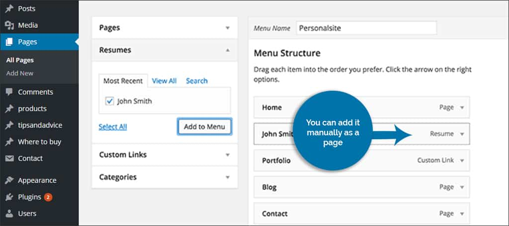 manually adding the resume to the top menu - Professional Resume Builder